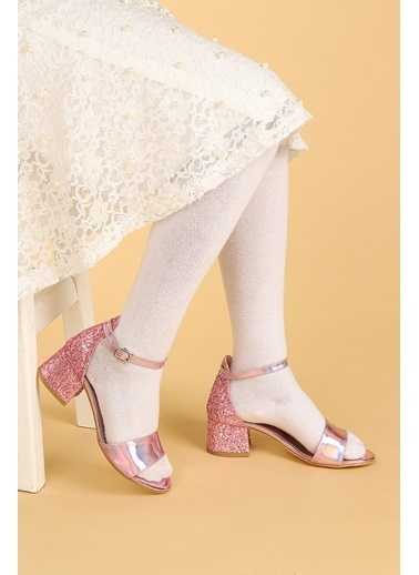 Kiko Kids Kiko 768 Ayna Çam Günlük Kız Çocuk 3 Cm Topuk Sandalet Ayakkabı Pudra